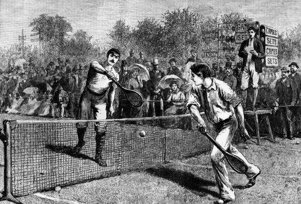 1881: British tennis player William Renshaw and H F Lawford playing for the Men's Singles Title at Wimbledon, which Renshaw won. Original Publication: The Graphic (Photo by Hulton Archive/Getty Images)