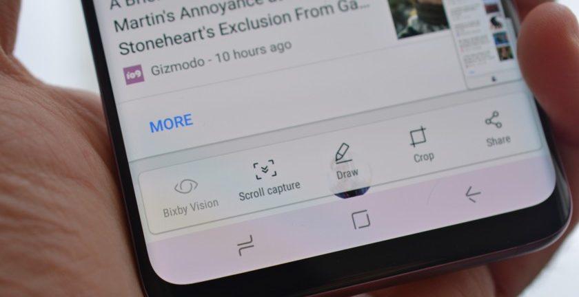 Kako uslikati ekran na Samsung S9 i S9 Plus - smart capture