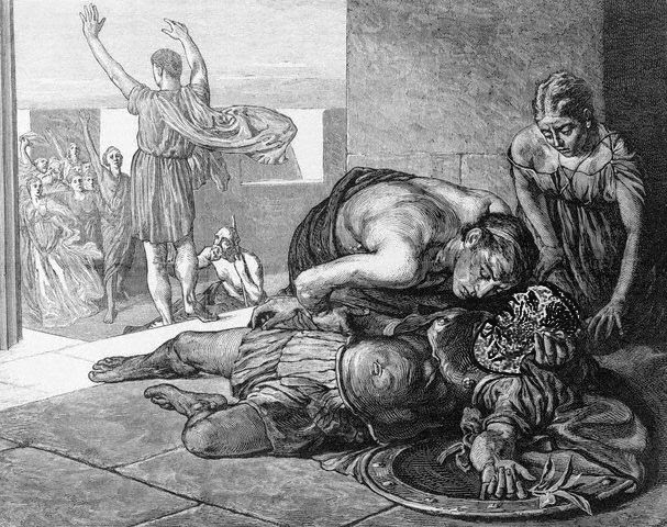 Death of Eucles After Battle of Marathon --- Image by © Bettmann/CORBIS