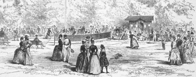 19th Century Tennis in Homburg, Germany on engraving from the 1800s. Published by Illustrated London News in 1887.
