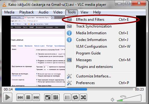 VLC effekti i filteri