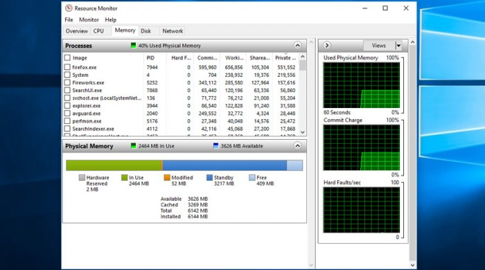 windows 10 resource monitor