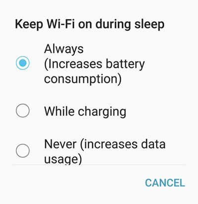 WiFi on during sleep