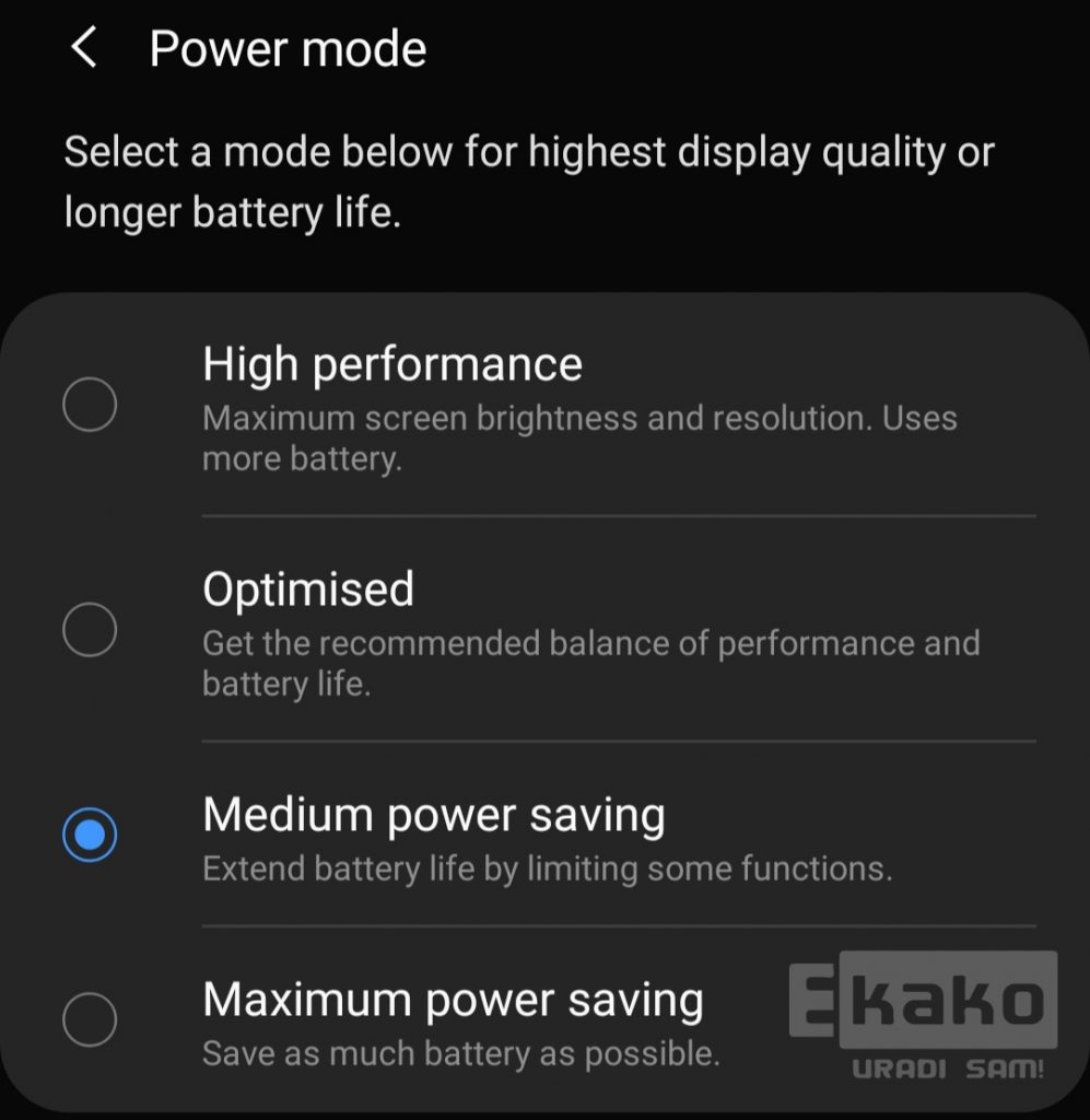 Samsung Android Power mode