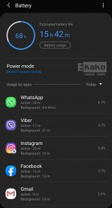 Samsung ANdroid battery usage